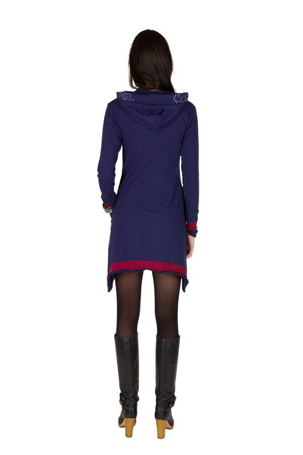 Robe courte polaire Violette coupe asymétrique avec broderie Cinderella 298894