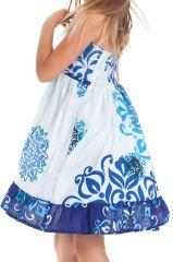 Robe courte pour Enfant à Volant Asymétrique Blanche et Bleue Oliver 280433