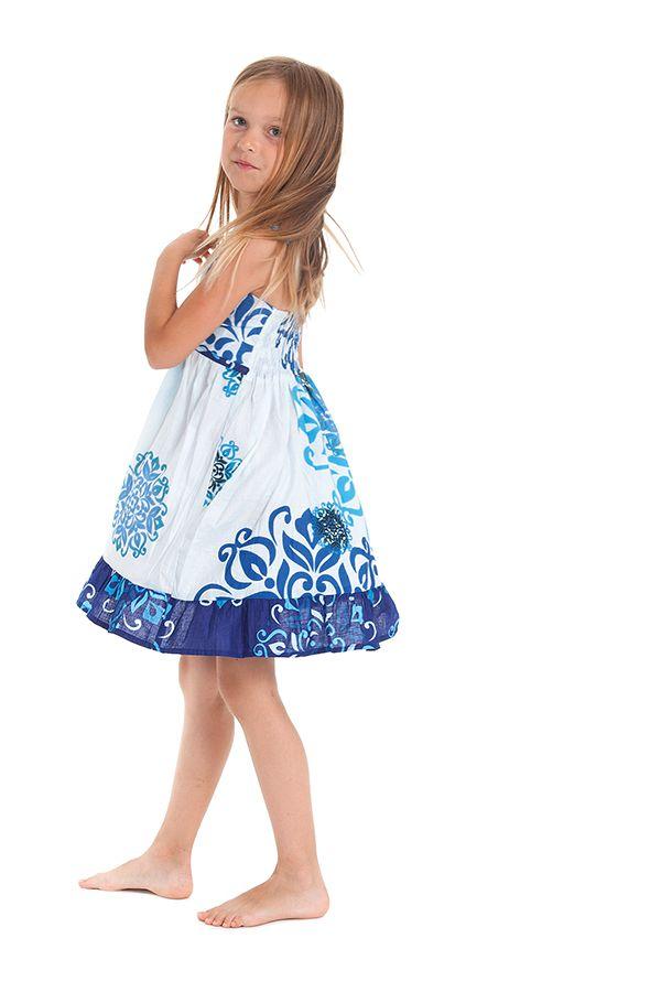 Robe courte pour Enfant à Volant Asymétrique Blanche et Bleue Oliver 280434