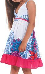 Robe courte pour Enfant à Volant Asymétrique Blanche et Rose Oliver 280437