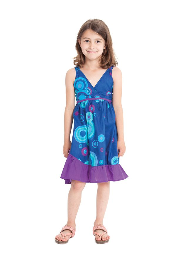 Robe courte pour Enfant à Volant Asymétrique Oliver Bleue 280426