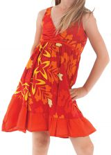 Robe courte pour Enfant à Volant Asymétrique Oliver Rouge et Orange 280427