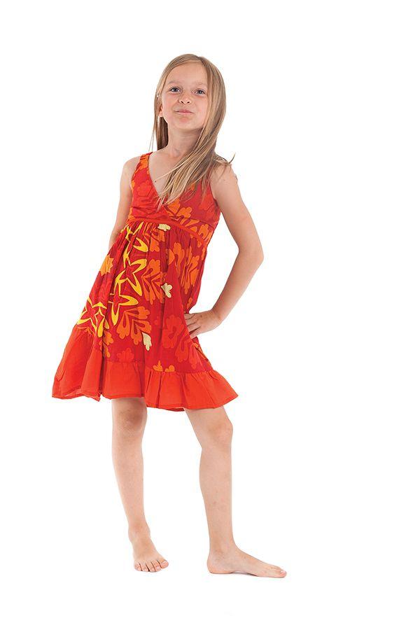 Robe courte pour Enfant à Volant Asymétrique Oliver Rouge et Orange 280428