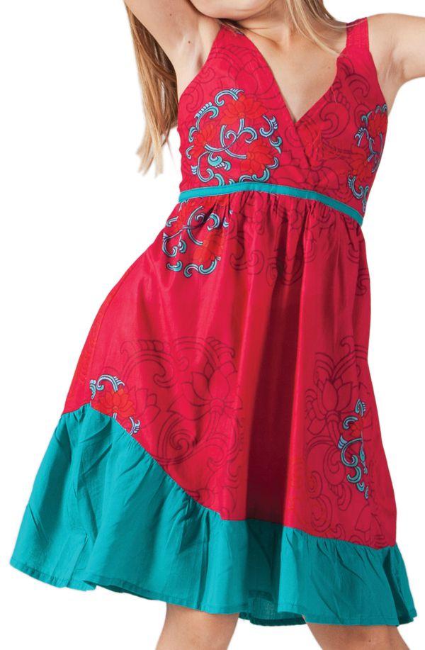 c7efdc017722b Robe courte pour Enfant Rouge et Verte à Volant Asymétrique Oliver 280596.  Loading zoom