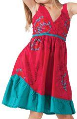 Robe courte pour Enfant Rouge et Verte à Volant Asymétrique Oliver 280596