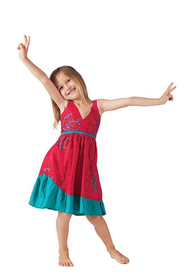 Robe courte pour Enfant Rouge et Verte à Volant Asymétrique Oliver 280597