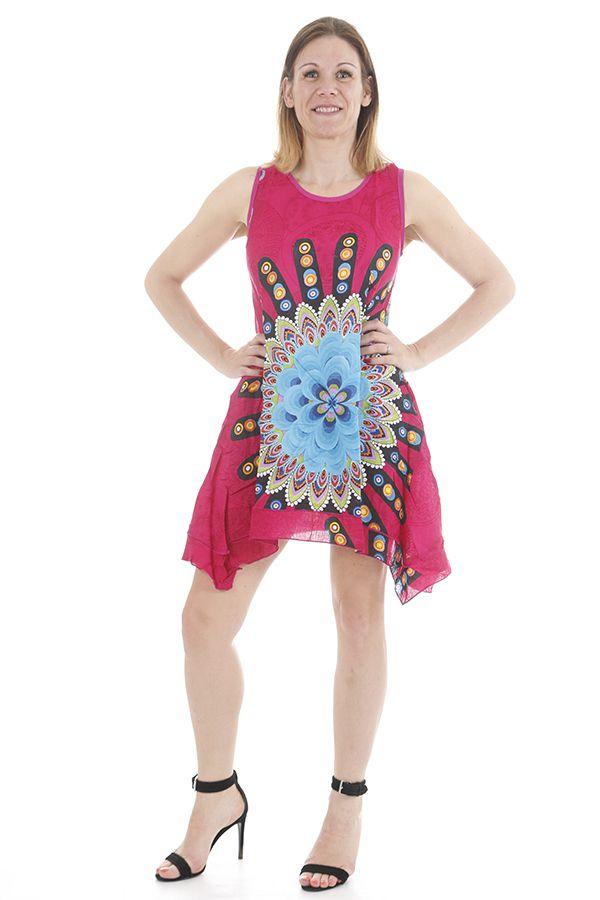 Robe courte pour femme ethnique et asymétrique Nelly 311725