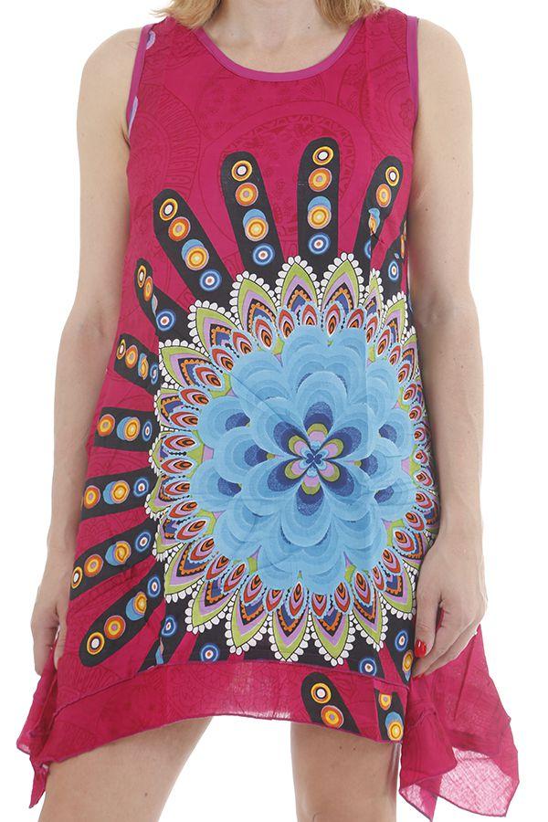 Robe courte pour femme ethnique et asymétrique Nelly 311726