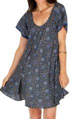 Robe courte pour femme ethnique et bohème Soma bleue 314560