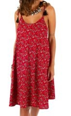 Robe courte pour femme fleurie et originale Mandinari rouge 314602
