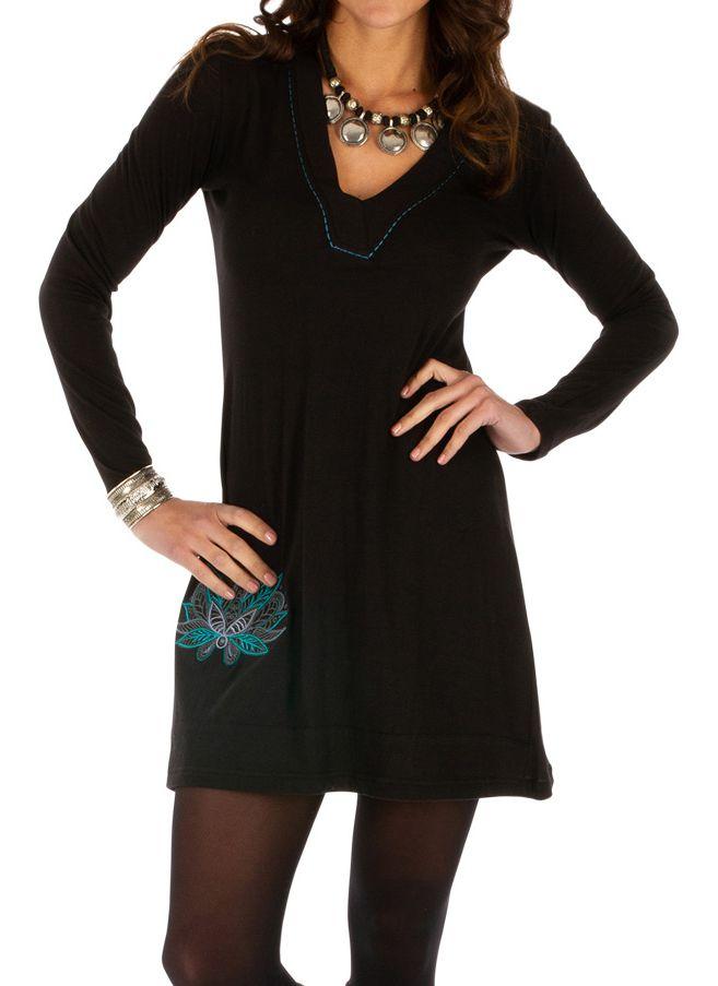 Robe courte pour femme glamour et ethnique Zémio noire 313889