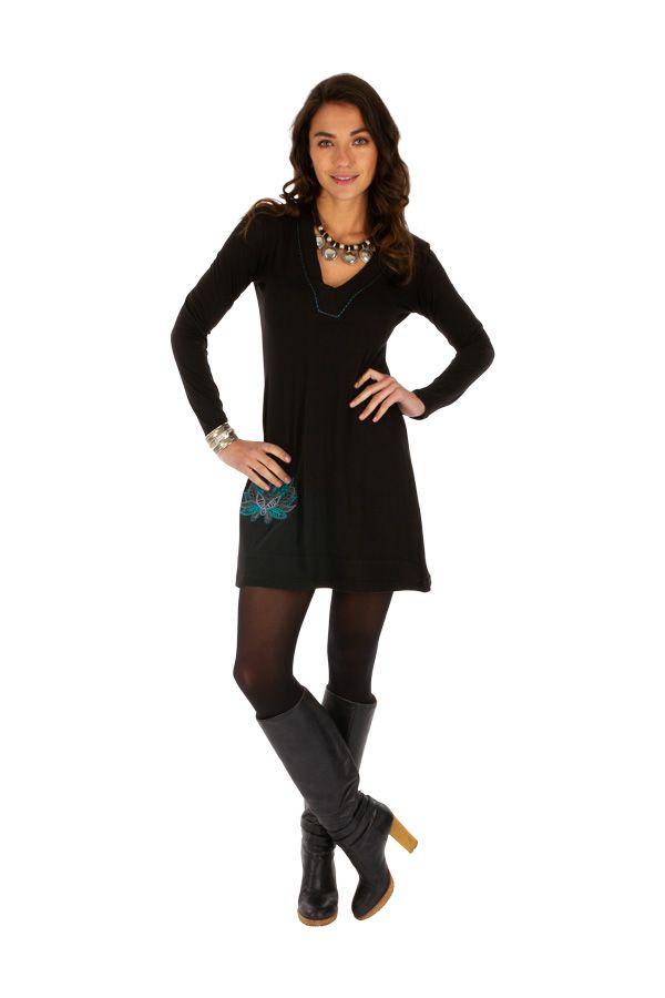 Robe courte pour femme glamour et ethnique Zémio noire 313890