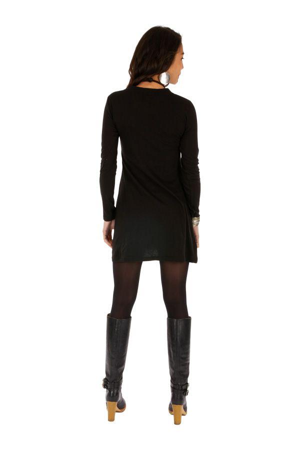 Robe courte pour femme glamour et ethnique Zémio noire 313891