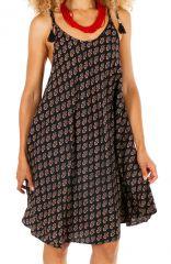 Robe courte pour femme noire et imprimée ethnique Mandinari 314605