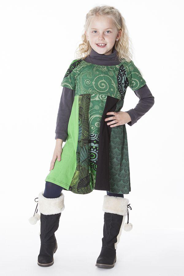 Robe courte pour fille imprimée avec un col élastiqué 287164