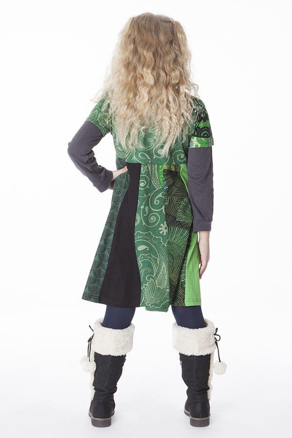 Robe courte pour fille imprimée avec un col élastiqué 287165