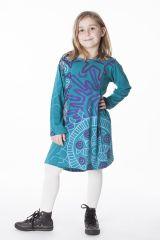 Robe courte pour fille Turquoise Originale et Colorée Brenda 286443
