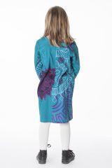 Robe courte pour fille Turquoise Originale et Colorée Brenda 286444