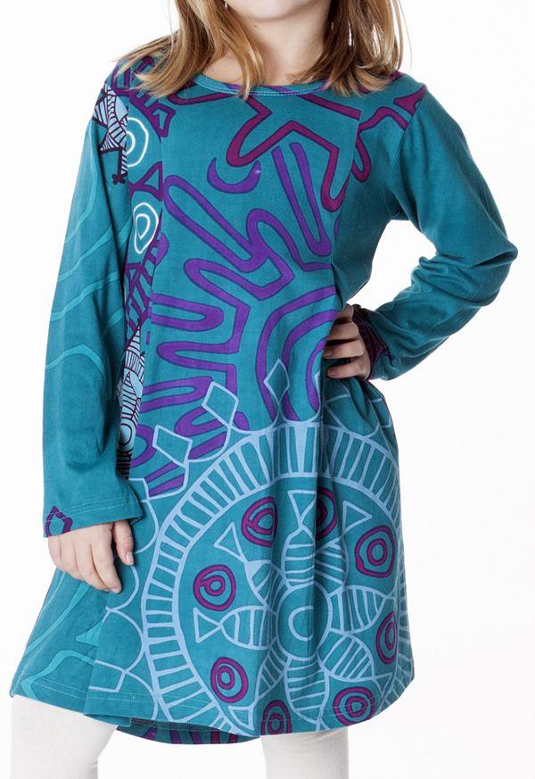 Robe courte pour fille Turquoise Originale et Colorée Brenda 286956