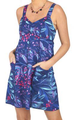 Robe courte pour l'été de couleur bleu avec un motif floral casuali 316834