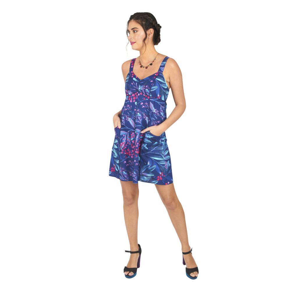 Robe courte pour l'été de couleur bleu avec un motif floral casuali 316835