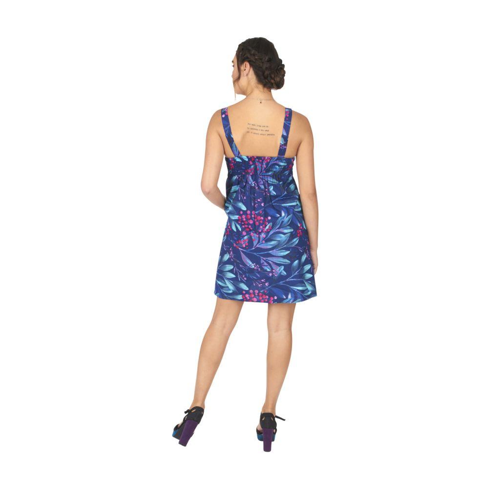 Robe courte pour l'été de couleur bleu avec un motif floral casuali 316836