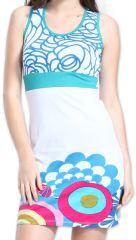 Robe courte pour l'été Ethnique et Originale Cécillia Blanche 276861