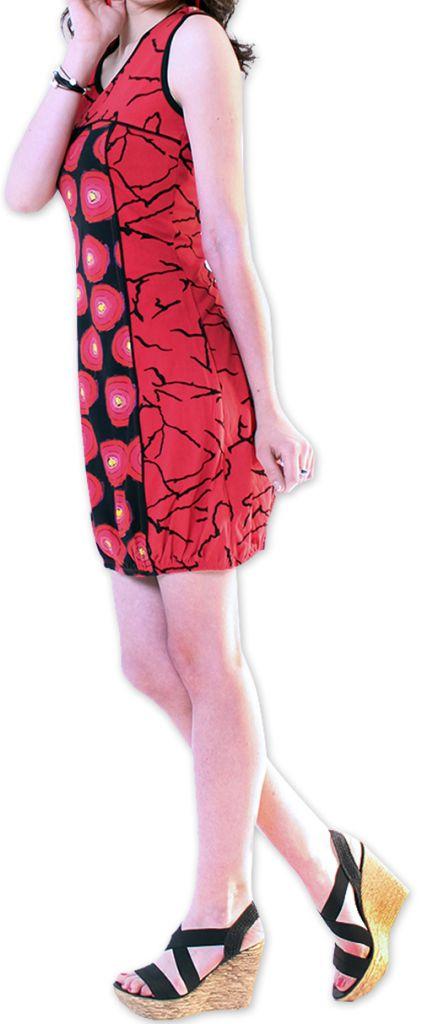 Robe courte pour l'été Originale et Imprimée Dounnia Rouge 276911