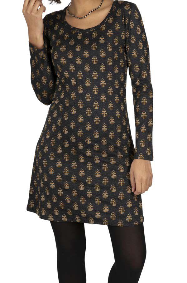 Robe courte pour l\'hiver avec imprimé or Symbolie