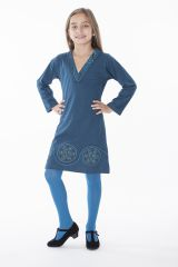 Robe courte pour les petites filles unie bleue col en V 286349