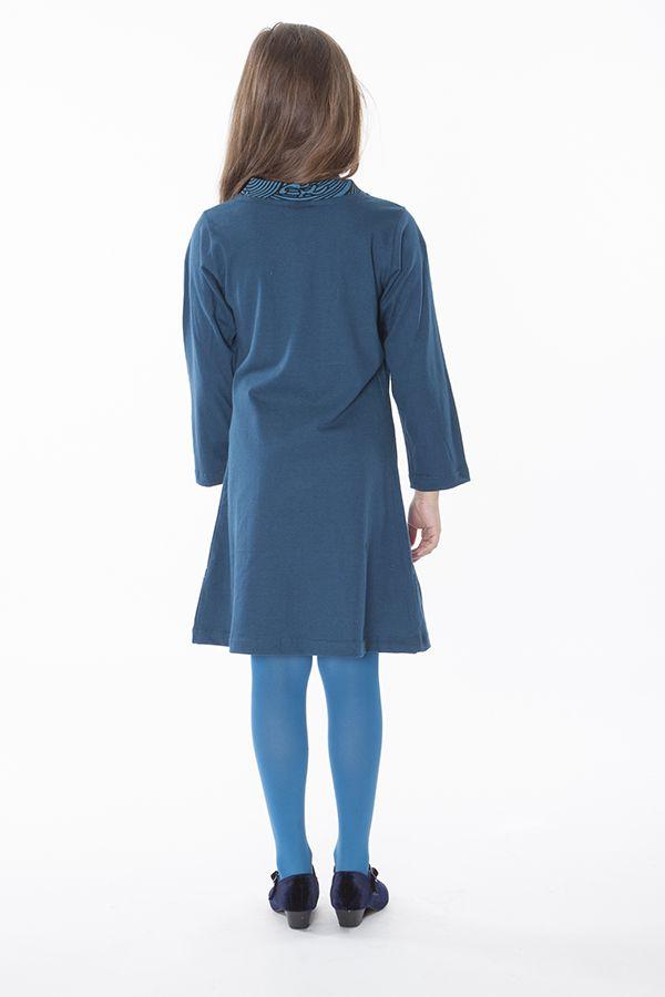 Robe courte pour les petites filles unie bleue col en V 286350