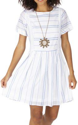 Robe courte rayée blanche et bleue en voile de coton léger Julie 316925