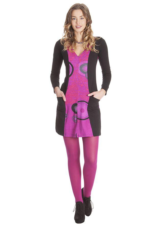 Robe courte Rose à manches longues Colorée Abby 285350