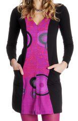 Robe courte Rose à manches longues Colorée Abby 286618