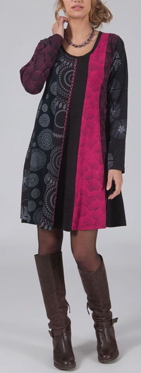 Robe courte rose à manches longues ethnique et chic Cindy