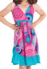 Robe courte Rose et Turquoise pour Enfant à Volant Asymétrique Oliver 280429