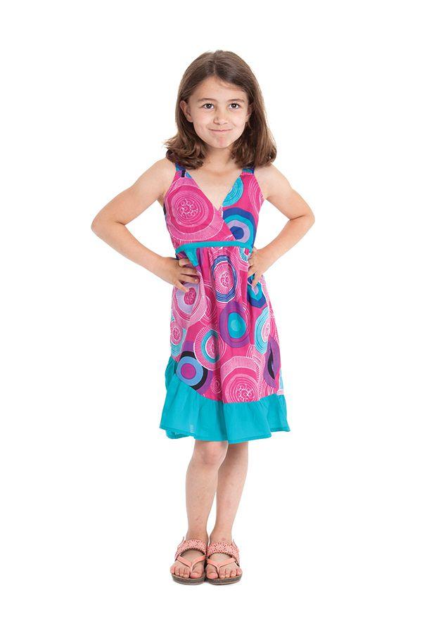 Robe courte Rose et Turquoise pour Enfant à Volant Asymétrique Oliver 280430