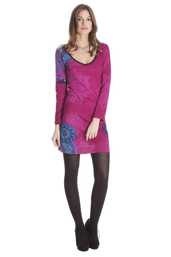 Robe courte Rose Ethnique et Imprimée à manches longues Graziella 285443
