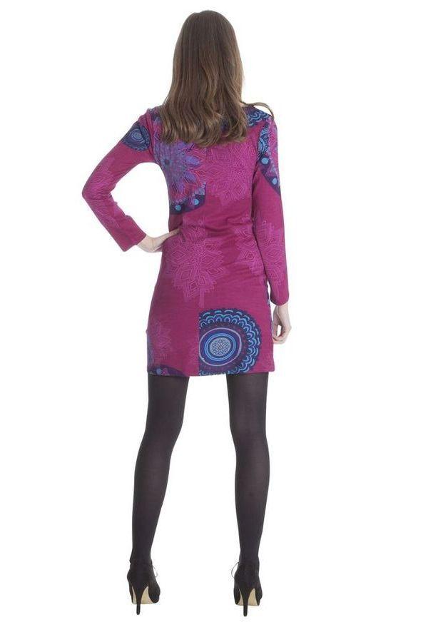Robe courte Rose Ethnique et Imprimée à manches longues Graziella 285444