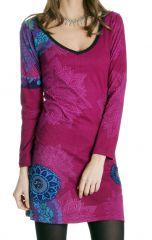 Robe courte Rose Ethnique et Imprimée à manches longues Graziella 286628