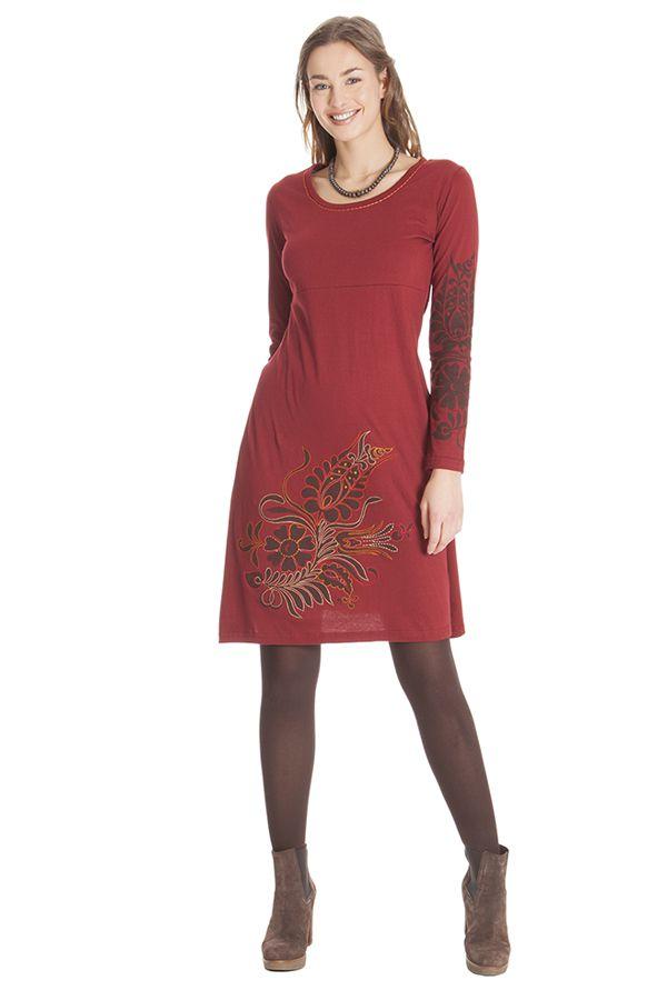 Robe courte Rouge à broderies Ethnique et Colorée Aurore 285311