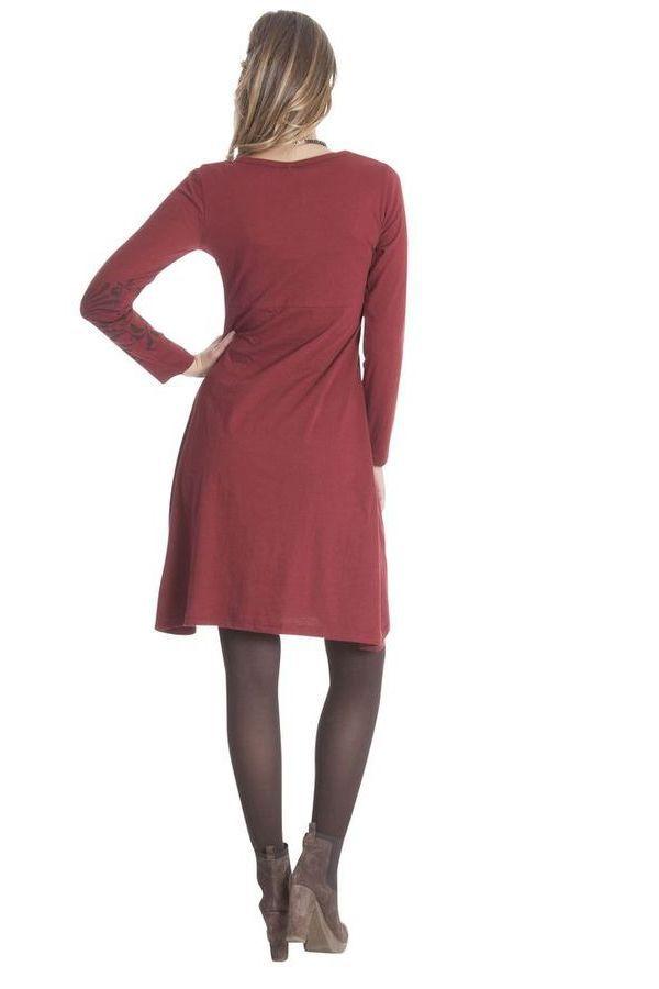 Robe courte Rouge à broderies Ethnique et Colorée Aurore 285312