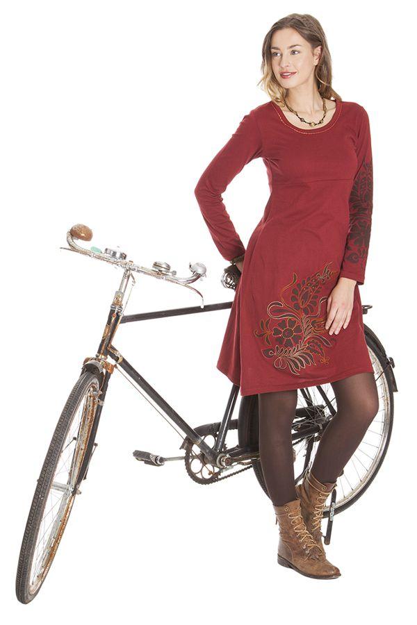 Robe courte Rouge à broderies Ethnique et Colorée Aurore 285313