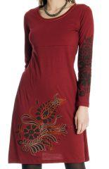 Robe courte Rouge à broderies Ethnique et Colorée Aurore 286798