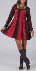 Robe courte rouge à col carré Originale et Ethnique Mélane