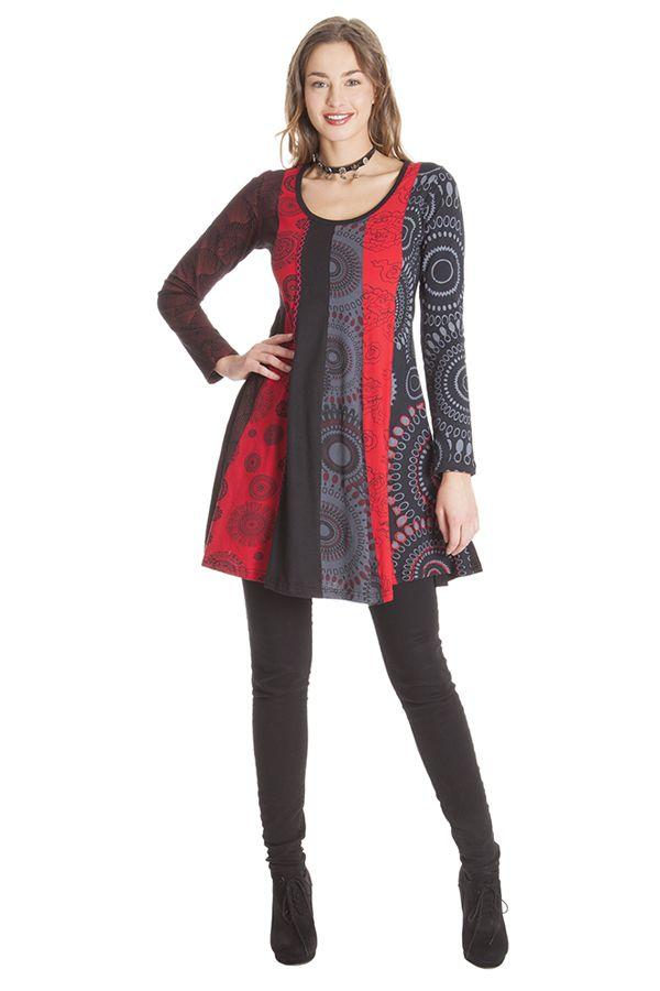 Robe courte Rouge à col rond Originale et Colorée Abril 285331