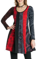 Robe courte Rouge à col rond Originale et Colorée Abril 286825