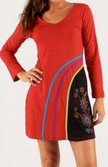 Robe courte Rouge à col V Ethnique et Originale Milos 279713