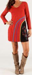 Robe courte Rouge à col V Ethnique et Originale Milos 279714