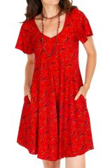 Robe courte rouge avec une coupe ample Clemence